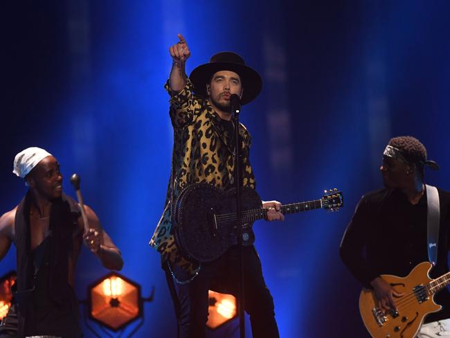 The Netherlands' singer Waylon performs the song Outlaw In 'Em. Picture: AFP