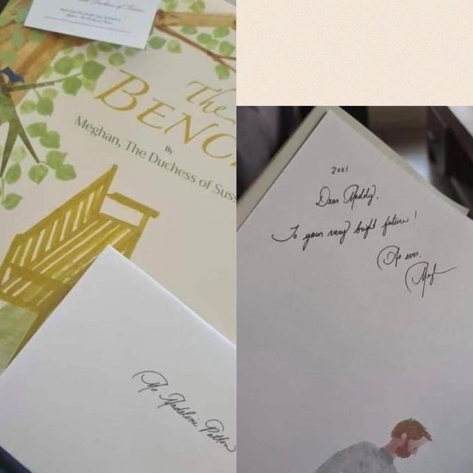 Meghan also sent the fan a signed copy of her book The Bench. Picture: Instagram/ _duchess_of_sussex