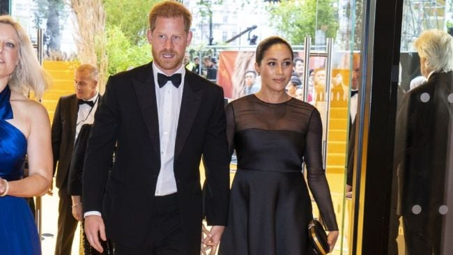 Meghan Markle and Prince Harry attending the UK premiere of The Lion King this week. Image: Getty