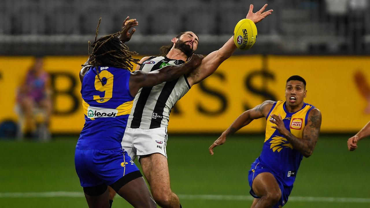 Brodie Grundy was well beaten by Nic Naitanui. (Photo by Daniel Carson/AFL Photos via Getty Images)