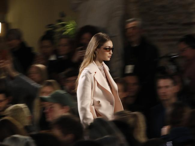 She strutted the runway for the debut collection by Lanvin's new creative director, Bruno Sialelli. Picture: AP