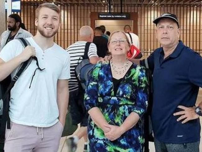 Byron, Lisa and Brett Clark at Auckland Airport. Picture: Lisa Clark