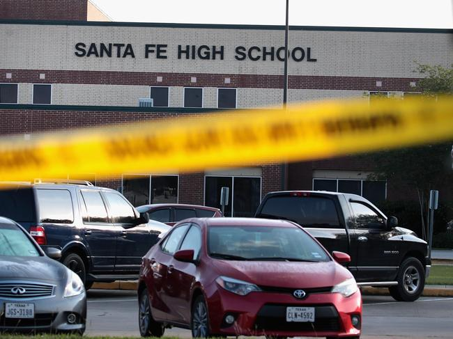 The Santa Fe High School where 17-year-old student Dimitrios Pagourtzis entered the school with a shotgun and a pistol and opened fire, killing 10 people. Scott Olson/Getty Images/AFP