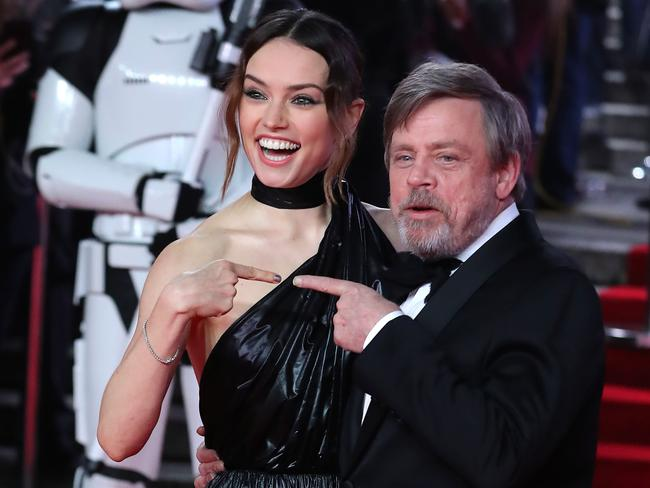 Daisy Ridley and Mark Hamill on the red carpet for the European Premiere of Star Wars: The Last Jedi.