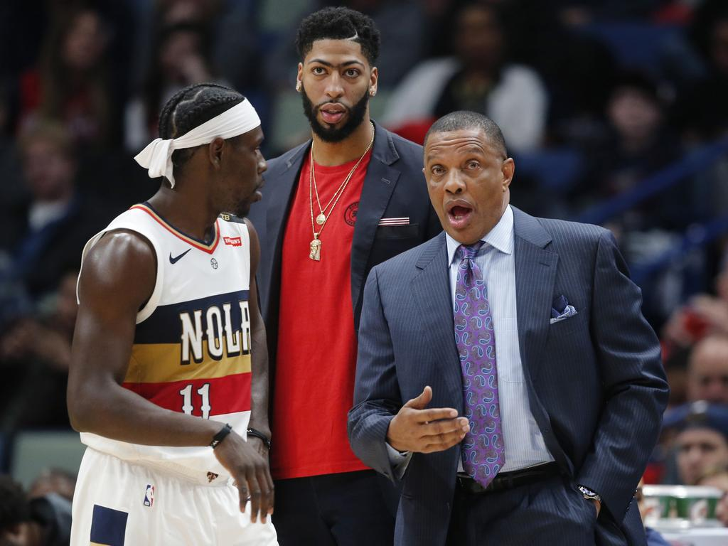 3c8ab4c726d New Orleans Pelicans coach Alvin Gentry (R) is still holding out hope of  retaining his superstar Anthony Davis (C). Picture  AP Photo Gerald Herbert