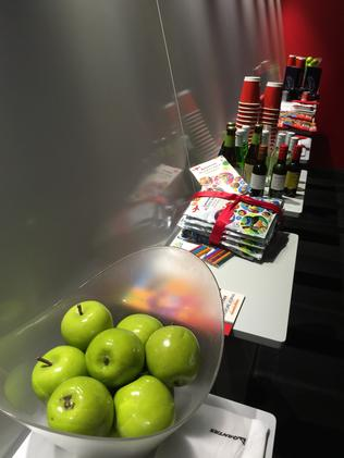 The apples and the kids' packs.