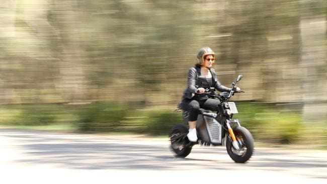 Fonzarelli founder Michelle Nazzari rides a Fonzarelli NKD electric motorbike ahead of the Electric Vehicle Show 2019.