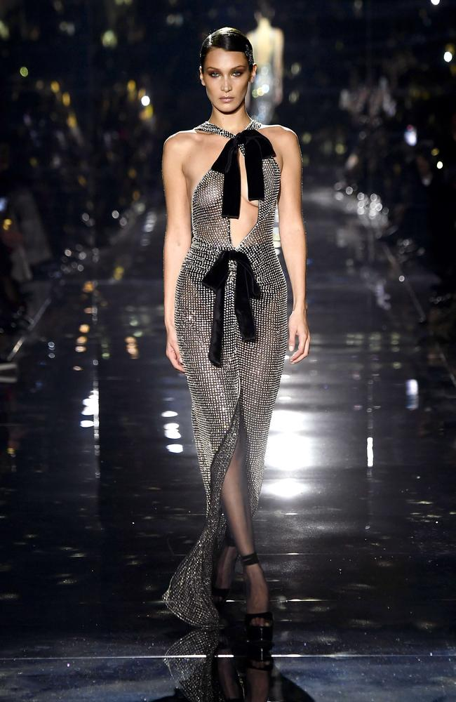 The supermodel walked in Tom Ford's autumn/winter runway show in Hollywood. Picture: AFP