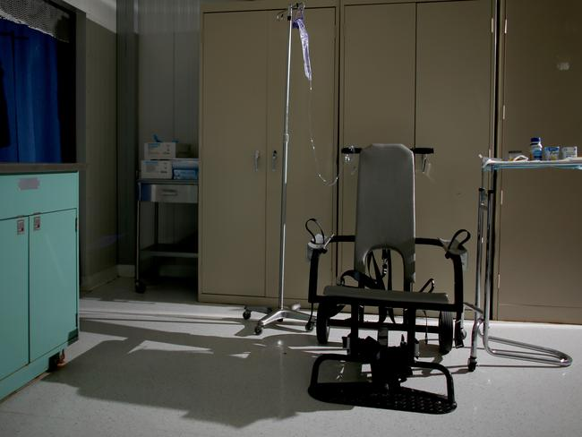 The restraint chair used to force-feed detainees on hunger strike is seen at the detainee hospital in Camp Delta. Picture: Joe Raedle/Getty Images)