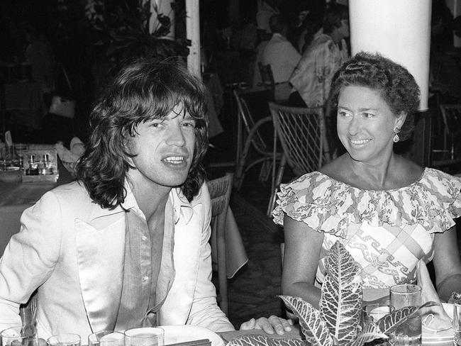Princess Margaret in a restaurant in the French West Indies in 1976 with Rolling Stone rocker Mick Jagger. Picture: AFP/Jacques Gustave
