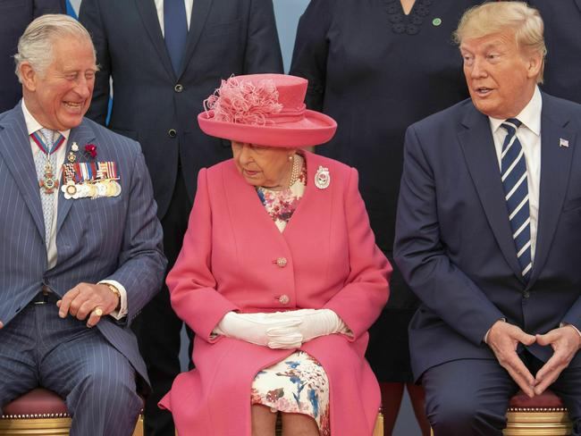Front row from left, Britain's Prince Charles, Queen Elizabeth and USPresident Donald Trump. Picture: AP