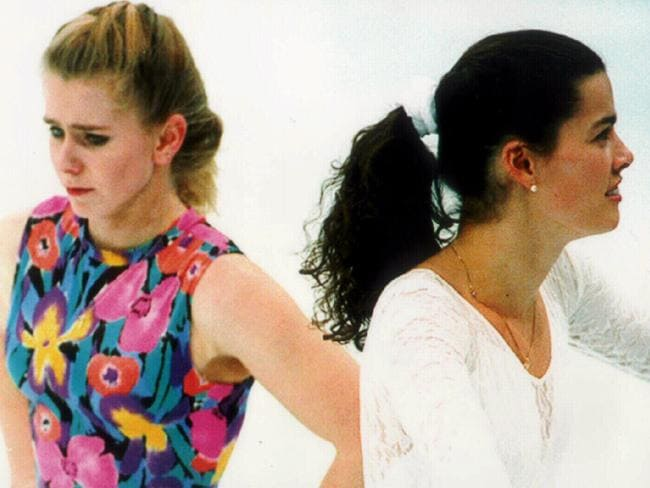 Ice skater Tonya Harding (l) with Nancy Kerrigan in 1994. Picture: Supplied