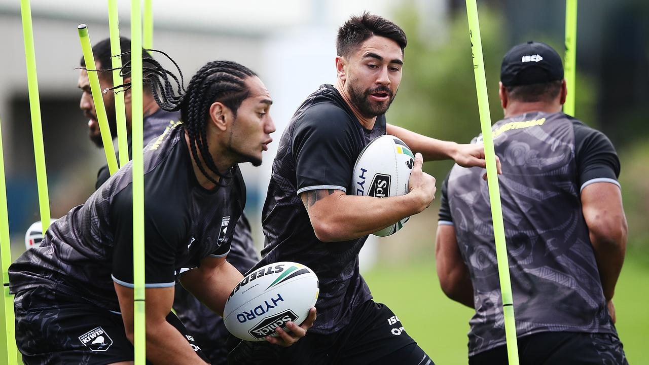 Martin Taupau and Shaun Johnson prepare to take on the Kangaroos.