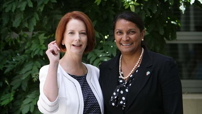 Then-Prime Minister Julia Gillard with Nova Peris at Parliament House in Canberra, after Nova Peris was announced as the preferred Senate Candidate for the Northern Territory. Picture: News Corp