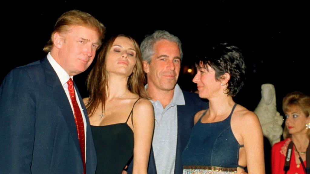 Donald Trump and Melania with Jeffrey Epstein and Ghislaine Maxwell in 2000. Picture: Davidoff Studios/Getty Images