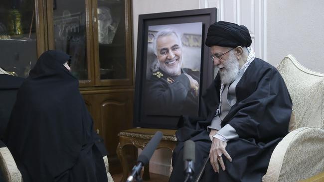 Iran's Supreme Leader, Ayatollah Ali Khamenei, meets the family of Qassem Soleimani in Tehran. Picture: AP/Office of the Iranian Supreme Leader