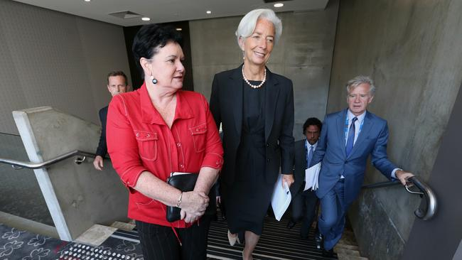 Sharan Burrow, left, with Christine Lagarde at the G20 Summit in Fortitude Valley, Brisbane in 2014. Picture: News Corp