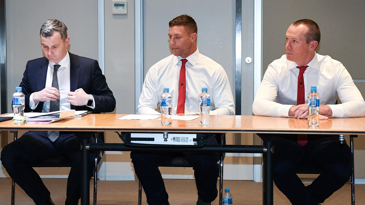 Blues forward Tariq Sims is grilled during his judiciary hearing.
