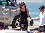 Miranda Kerr and James Packer vacation on his super yacht in Spain. Picture by: Splash News