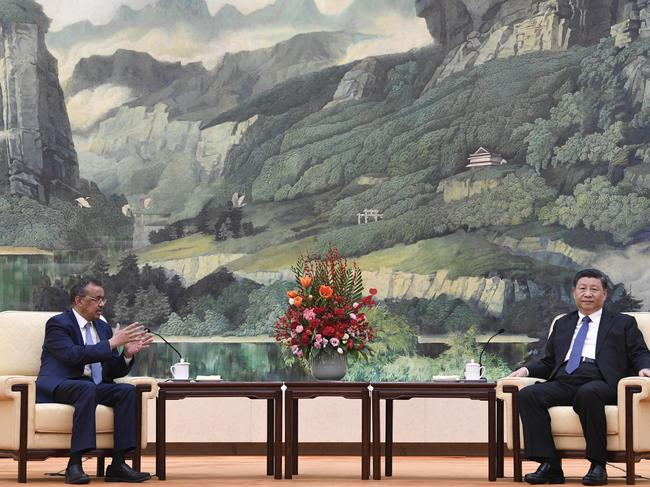Tedros Adhanom, Director General of the World Health Organisation, (L) attends a meeting with Chinese President Xi Jinping. Picture: Naohiko Hatta/Getty Images