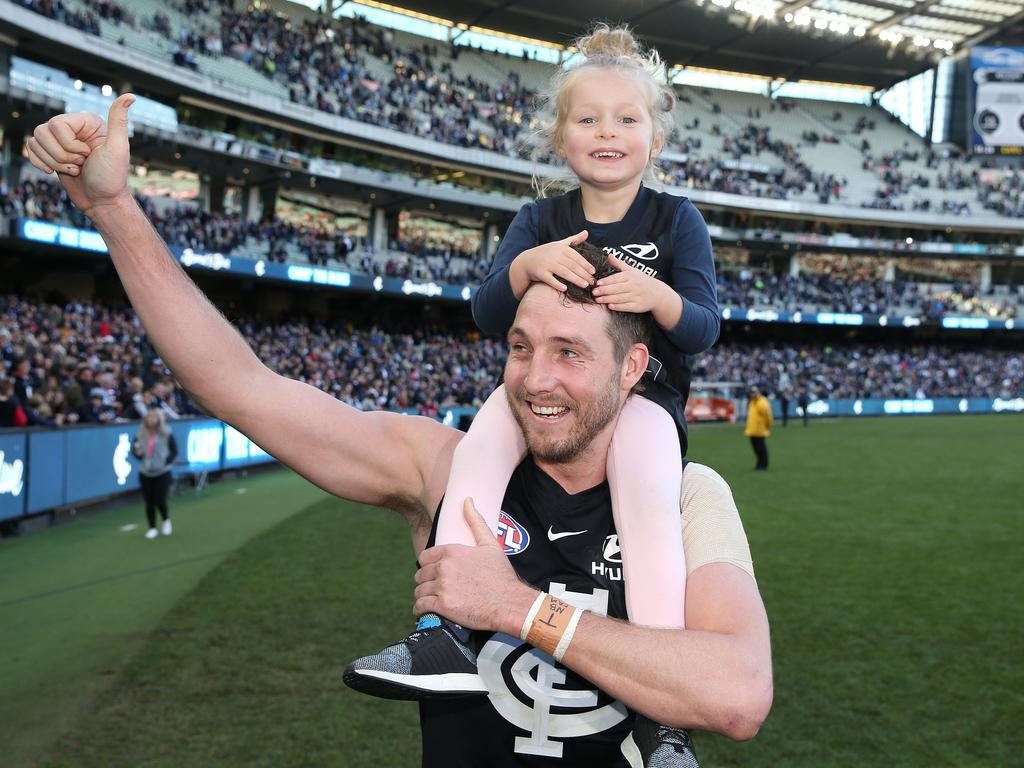 Dale Thomas with his daughter Matilda after a Carlton win over St Kilda in 2019. Picture: Michael Klein