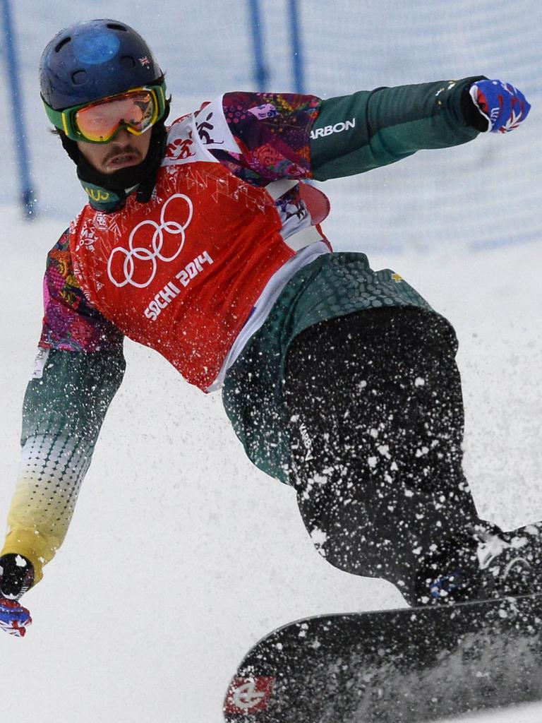 Pullin competing at the Men's Snowboard Cross during the Sochi Winter Olympics. Picture: AFP Photo/Lionel Bonaventure