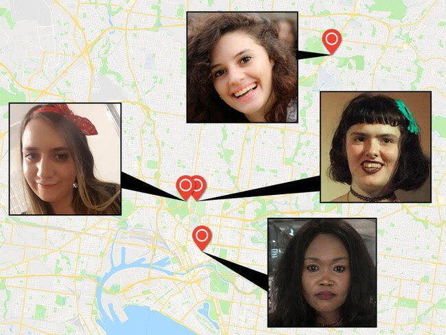A map shows roughly where (clockwise from left) Courtney Herron, Aiia Maasarwe, Eurydice Dixon and Natalina Angok were killed and dumped in Melbourne.