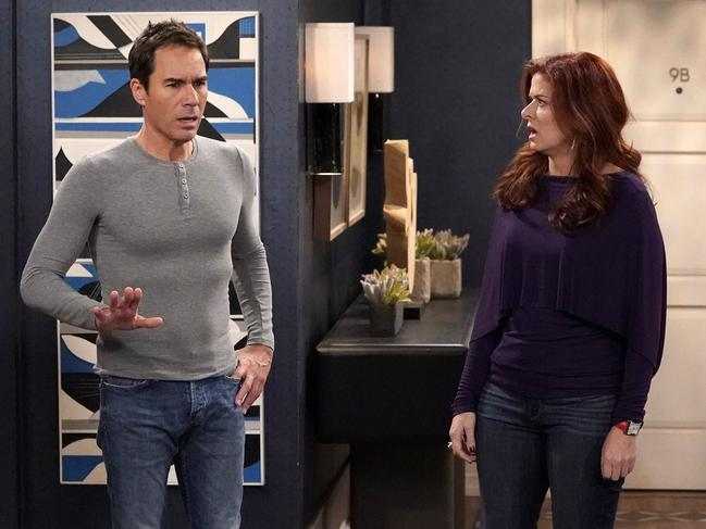 Eric McCormack and Debra Messing in Will & Grace. Picture: NBC