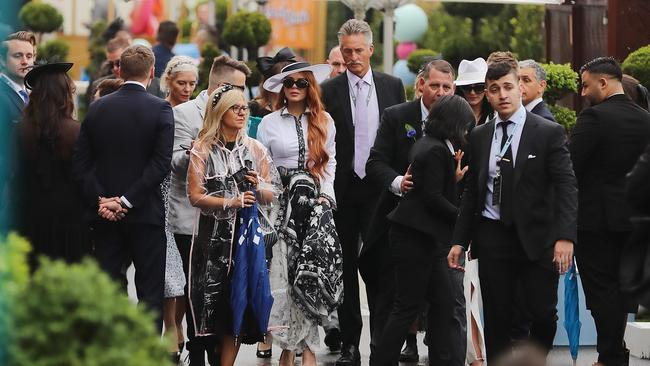 Lindsay Lohan at last year's Derby Day at Flemington Racecourse. Picture: Alex Coppel.