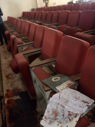 The bloodied ceremony hall at the army-run school a day after the attack. Picture: A Majeed