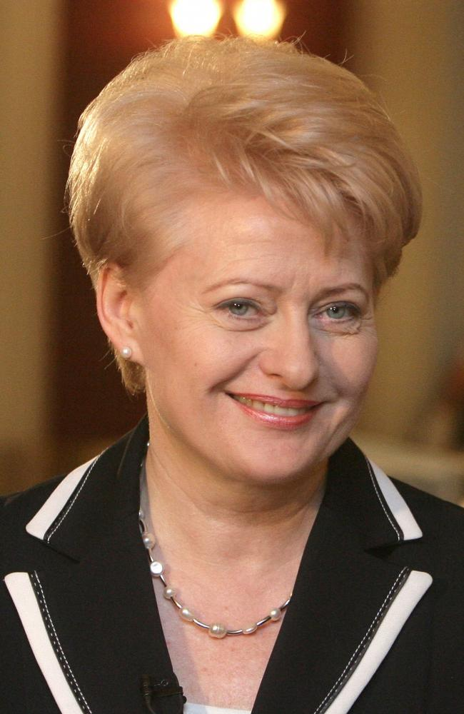 Show no fear ... Dalia Grybauskaite says she is prepared to 'take up arms' in the instance Russia attacks Lithuania.