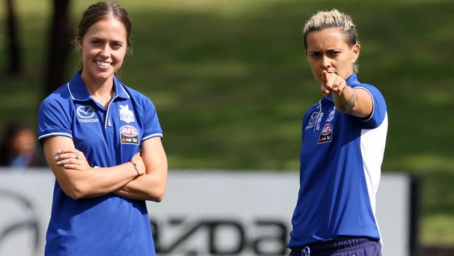 Recruits Kaitlyn Ashmore and Mo Hope at North Melbourne training. Picture: Michael Klein