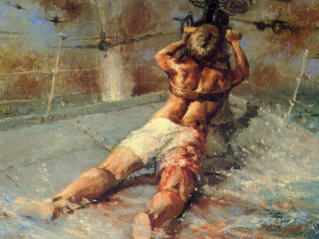 A painting, on display in the Australian War Memorial in Canberra, depicting Ordinary Seaman Edward Sheean on the HMAS Armidale shooting at attacking Japanese bombers.