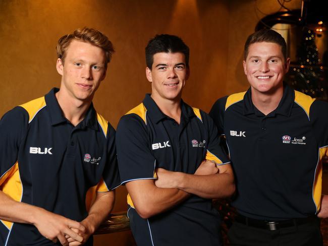 NSW 's Callum Mills, Matt Kennedy, and Jacob Hopper in Adelaide for AFL draft. Picture: DYLAN COKER