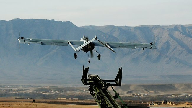 The UAV launches towards another mission in Afghanistan. Pic Mark Calleja. Pic: Mark Calleja
