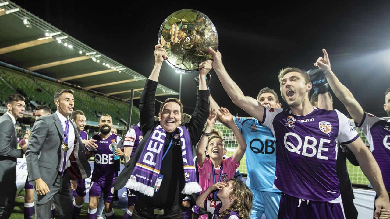 Tony Sage celebrated as Perth were named Premiers last season.