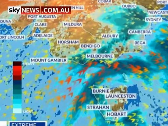 A cold front is passing over the southeastern parts of Australia, with another front expected to follow on Wednesday. Picture: Sky News Weather