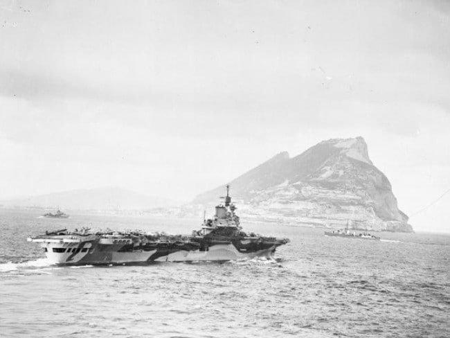 The Royal Navy aircraft carrier HMS Formidable off Gibraltar during World War II. Spain, under General Franco, had declared itself neutral. Picture: IWM
