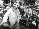 A clown entertains/terrifies children during the 1993 John Martin's Christmas Pageant.