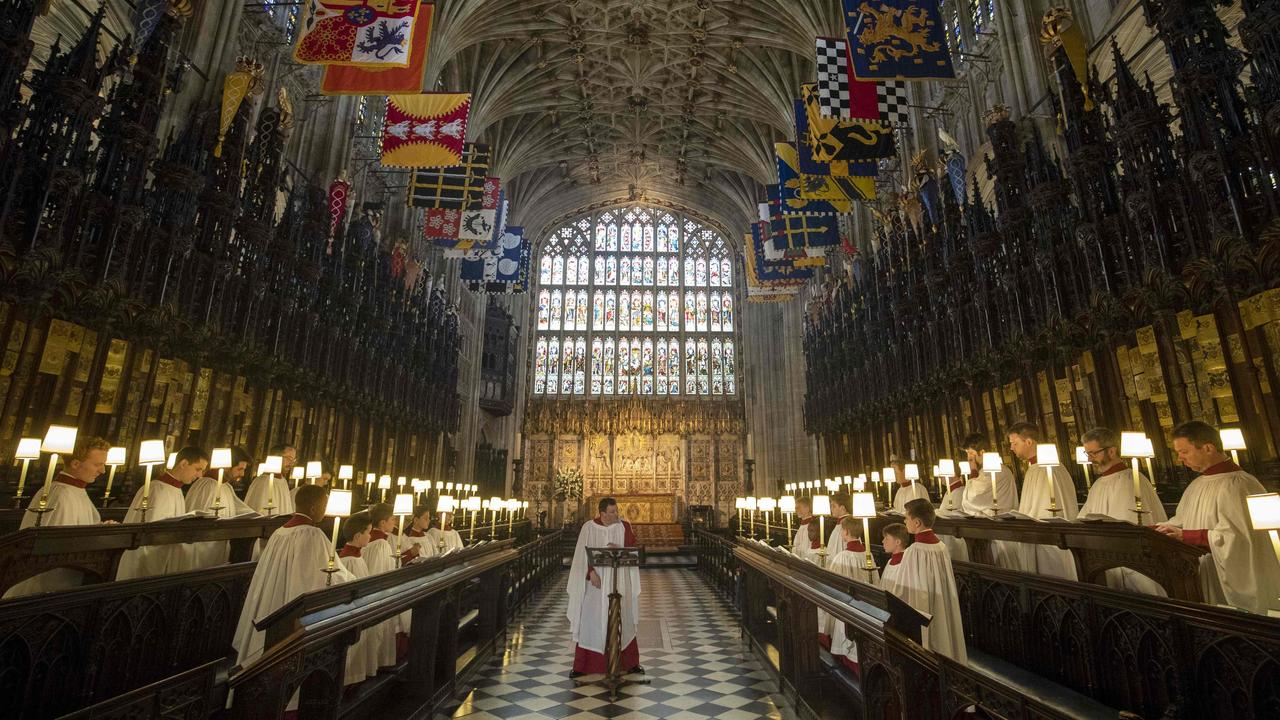 A rehearsal at St George's Chapel before the wedding. Picture: AFP