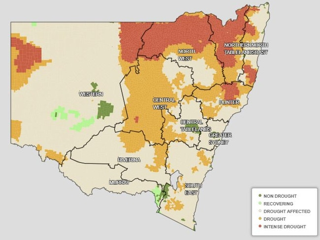 This Department of Primary Industries map shows the current state of the drought as of July 13.