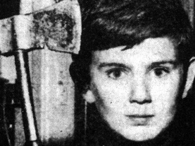 Eleven-year-old Shane Spiller with his tomahawk after trying to ward off Derek Percy, who murdered his friend Yvonne Tuohy. Picture: News Corp.