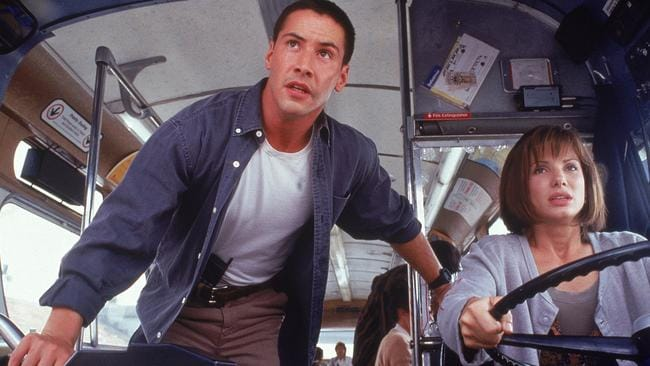 Keanu Reeves and Sandra Bullock in 1994 film Speed.