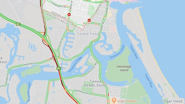 The M1 has severe delays in and out of Queensland on the Gold Coast. Picture: Google Maps