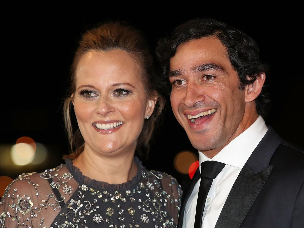 Johnathan Thurston and his wife Samantha. Picture: Cameron Spencer/Getty Images