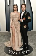 Barbara Palvin and Dylan Sprouse attend the 2020 Vanity Fair Oscar Party hosted by Radhika Jones at Wallis Annenberg Center for the Performing Arts on February 09, 2020 in Beverly Hills, California. Frazer Harrison/Getty Images/AFP