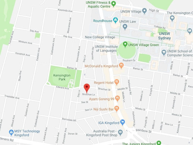 Preethi Reddy's body was found in a suitcase inside a vehicle on Strachan Lane, a few hundred metres from Anzac Parade and 700m from UNSW. Picture: Google Maps