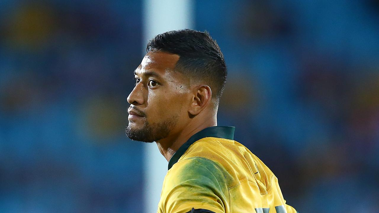 GOLD COAST, AUSTRALIA - SEPTEMBER 15: Israel Folau of the Wallabies looks dejected during The Rugby Championship match between the Australian Wallabies and Argentina Pumas at Cbus Super Stadium on September 15, 2018 in Gold Coast, Australia. (Photo by Jono Searle/Getty Images)