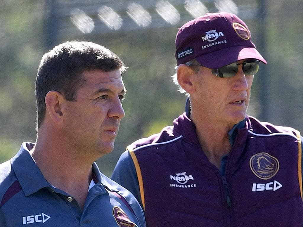 Broncos assistant coach Jason Demetriou (left) and coach Wayne Bennett look on during the Brisbane Broncos training session in Brisbane, Wednesday, August 1, 2018. (AAP Image/Dave Hunt) NO ARCHIVING