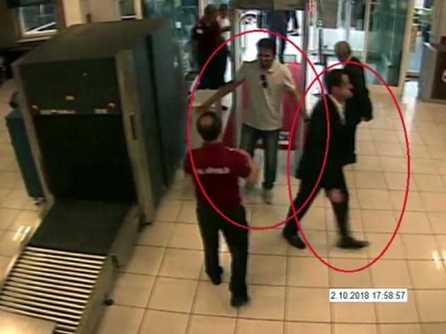 A man previously seen with Saudi Crown Prince Mohammed bin Salman's entourage arrives at Ataturk Airport in Istanbul on the day Jamal Khashoggi went missing. Picture: AP